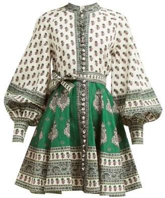 Zimmermann Amari Paisley Print Mini Dress - Womens - Green