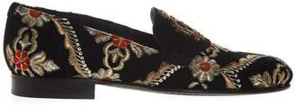 Dolce & Gabbana Black Velvet Slippers With Embroidery
