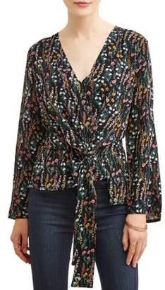 L.N.V Juniors' Printed Tie Wrap Front Bell Sleeve Surplice Blouse