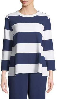 Joan Vass Striped Pullover Top, Petite