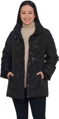 Dennis Basso Water Resistant Quilted Toggle Jacket with Hood