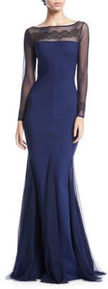 Chiara Boni Nieves Embroidered Illusion Trumpet Gown