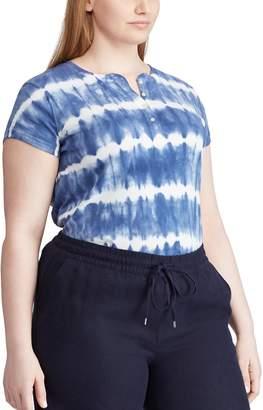 Chaps Plus Size Blue Tie Dye Short Sleeve Knit Top