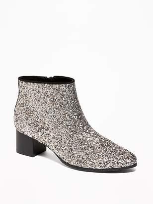 Old Navy Glitter Block-Heel Booties for Women