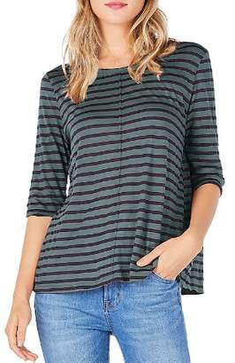 Michael Stars Elbow Sleeve Stripe Swing Tee
