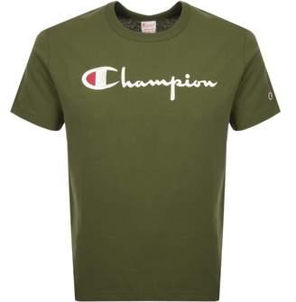 Champion Crew Neck Logo T Shirt Green