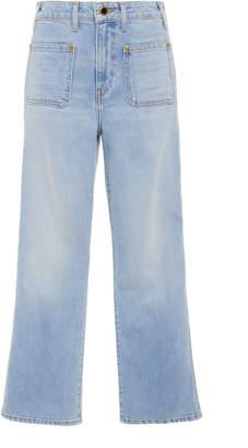 Khaite Rachel Patch Pocket Mid-Rise Cropped Jeans