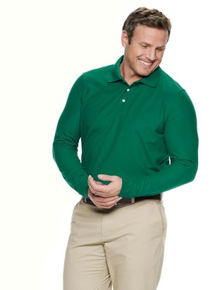 Croft & Barrow Big & Tall Button-up Long Sleeve Easy Care Pique Polo Shirt