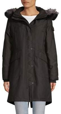 1 Madison Fox Fur-Trimmed Hooded Coat