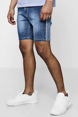 boohoo Skinny Fit Panelled Denim Shorts With Piping