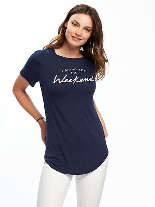 Graphic Curved-Hem Tee for Women $16.94 thestylecure.com