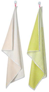 Sale - Landscape Dot Cotton Tea Towels - Set of 2 - Hay