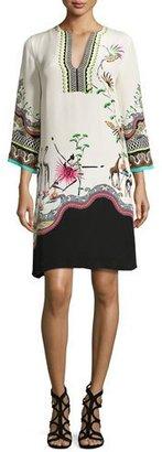 Etro Tropical-Print Split-Neck Tunic Dress, Ivory $1,270 thestylecure.com