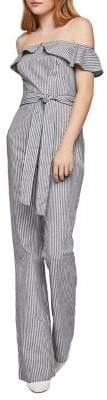 BCBGeneration Railroad Stripe Strapless Cotton Jumpsuit