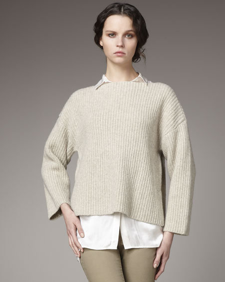 Vince Chunky-Rib Boat-Neck Sweater