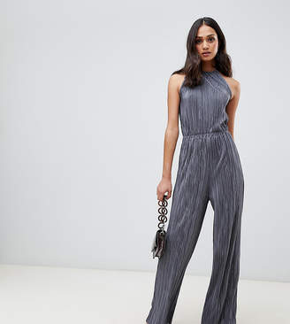 Miss Selfridge plisse jumpsuit in gray