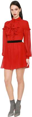 DANIELE CARLOTTA Ruffled Silk Georgette Mini Dress