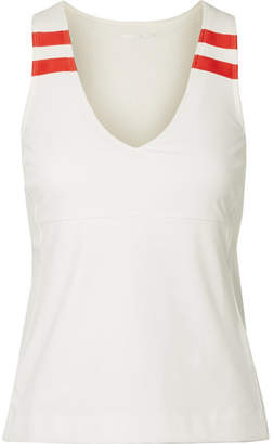 Tory Sport Striped Stretch-jersey Tank - White