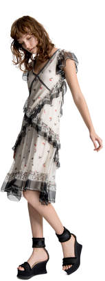 Max Studio house of cards print ruffle dress