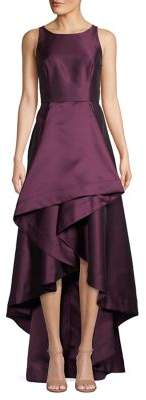 Adrianna Papell Mikado High-Low Halter Gown