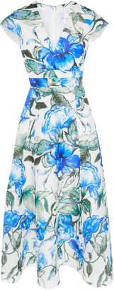 Carolina Herrera Floral Faux Wrap Midi Dress