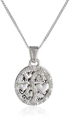 "Sterling Diamond ""Girlfriends Are Family We Choose For Ourselves"" Two Piece Necklace (1/10 cttw"