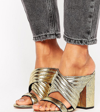 Office Sierra Gold Cracked Leather Heeled Mules