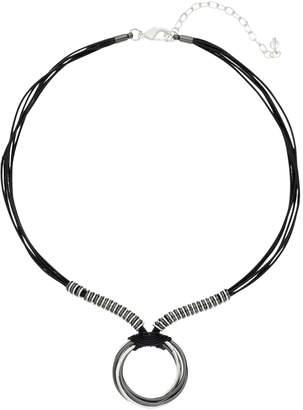 Napier Two Tone Circle Pendant Necklace