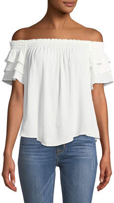 Astr Ruffle-Tiered Off-The-Shoulder Blouse