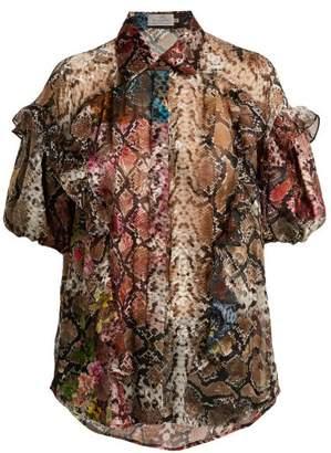 Preen by Thornton Bregazzi Saskia Floral And Snake Print Satin Devore Blouse - Womens - Multi