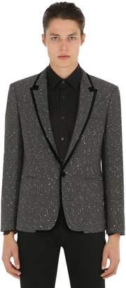 Saint Laurent Sequined Tweed Jacket W/ Velvet Trim
