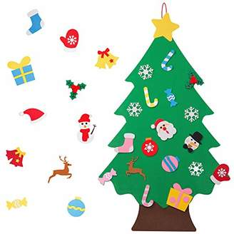 TOBEHIGHER Felt Christmas Tree - 3.12 FT 3D DIY Set for Kids with 30 Pieces of Ornament Decor