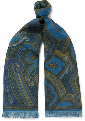 Camoshita Fringed Paisley-Print Silk-Twill Scarf