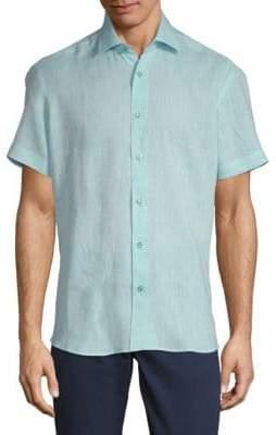 Dobby Linen Button-Down Shirt