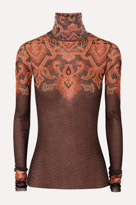 Etro Printed Stretch-tulle Turtleneck Top - Brown