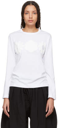 Comme des Garcons White Long Sleeve Foam Flowers T-Shirt