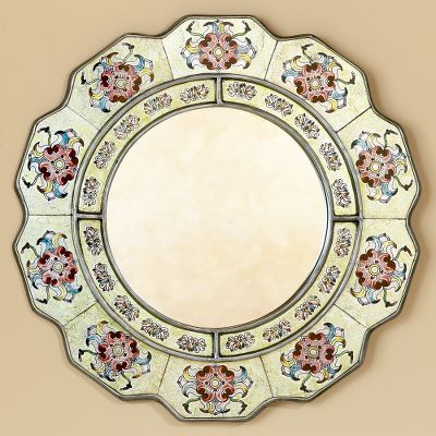 Novica Floral Reverse Painted Glass Mirror