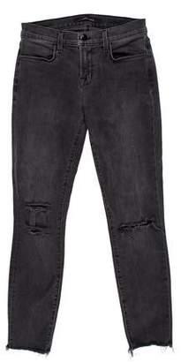 J Brand Mercy Distressed Mid-Rise Skinny Jeans