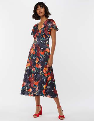 Monsoon Olive Oriental Print Tea Dress