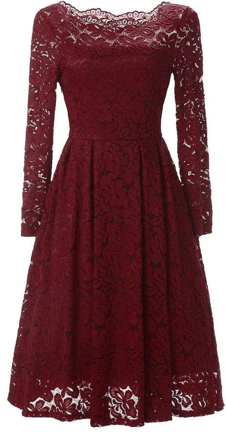 DINGZAN Vintage Lace Long Sleeves Fit and Flare Dress Swing Mother of the Bride Gowns L