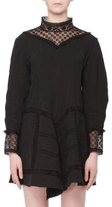 Isabel Marant Loane Mock-Neck Long-Sleeve Lace Linen Mini Dress