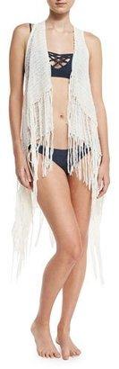 L Space Janis Fringe Coverup Vest $165 thestylecure.com