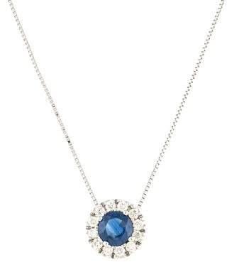 14K Sapphire & Diamond Halo Pendant Necklace