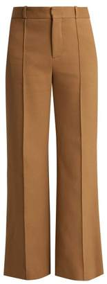 See By Chloé - City Wide Leg Cotton Blend Trousers - Womens - Beige