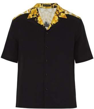 Versace Gold Hibiscus Print Poplin Shirt - Mens - Gold Multi