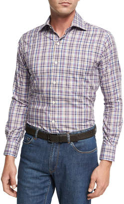 Peter Millar Destination Melange Plaid Sport Shirt, Purple