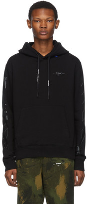 Off-White Black and Silver Diag Unfinished Slim Hoodie