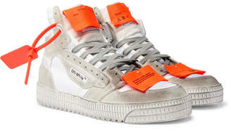 Off-White Off White Off-Court 3.0 Distressed Suede, Leather and Canvas High-Top Sneakers - Men - White
