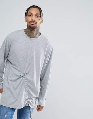 Asos DESIGN Oversized Super Longline Long Sleeve T-Shirt With Elastic Toggle Detail In Gray