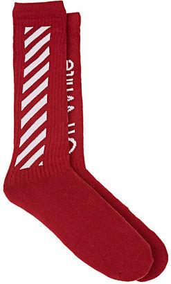 Off-White c/o Virgil Abloh Men's Diagonal-Striped Cotton Mid-Calf Socks $80 thestylecure.com